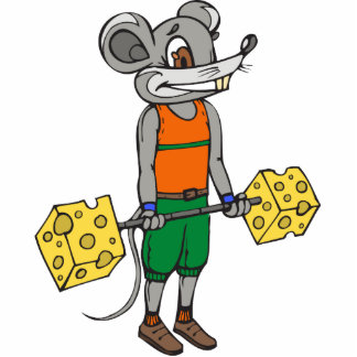Cheese Weightlifting Mouse Photo Cut Out