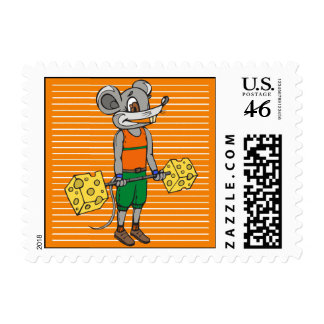 Cheese Weightlifting Mouse Stamp