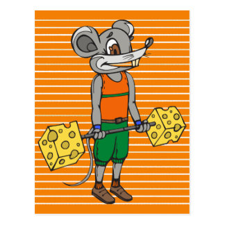 Cheese Weightlifting Mouse Postcard