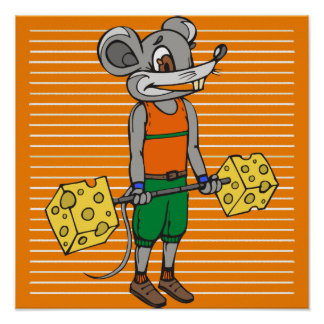 Cheese Weightlifting Mouse Poster
