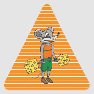 Cheese Weightlifting Mouse Triangle Sticker