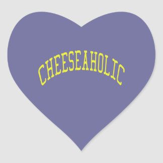 Cheeseaholic Cheese Lover - Blue Background Color Heart Sticker