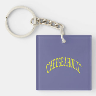 Cheeseaholic Cheese Lover - Blue Background Color Keychain
