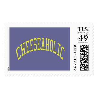 Cheeseaholic Cheese Lover - Blue Background Color Postage