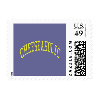 Cheeseaholic Cheese Lover - Blue Background Color Postage Stamp