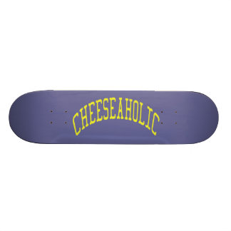 Cheeseaholic Cheese Lover - Blue Background Color Skate Board Deck