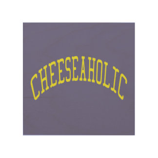 Cheeseaholic Cheese Lover - Blue Background Color Wood Wall Art