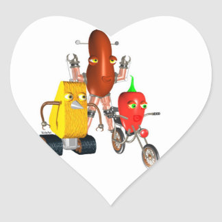 CheeseBot BeanBot and PepperBot Heart Sticker