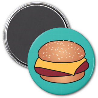 CheeseBurger 3 Inch Round Magnet
