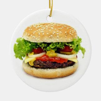 Cheeseburger Adorno Navideño Redondo De Cerámica