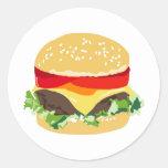 Cheeseburger americano etiquetas redondas