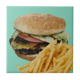 Cheeseburger and French Fries Ceramic Tile