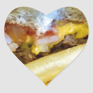 Cheeseburger and Fries Heart Sticker
