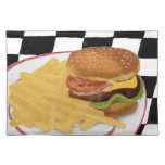 Cheeseburger and fries Placemat