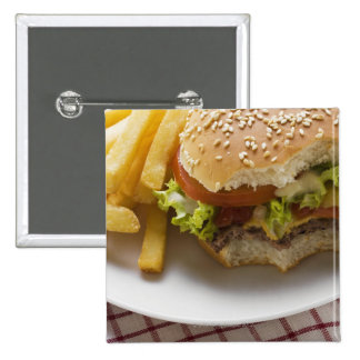 Cheeseburger, bites taken, with chips 2 inch square button