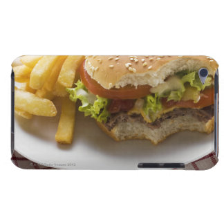 Cheeseburger, bites taken, with chips barely there iPod covers
