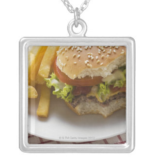 Cheeseburger, bites taken, with chips square pendant necklace