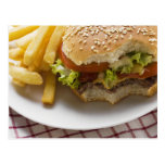 Cheeseburger, bites taken, with chips postcards