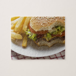 Cheeseburger, bites taken, with chips puzzles