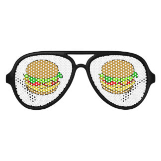Cheeseburger cartoon aviator sunglasses