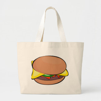 Cheeseburger Cartoon Large Tote Bag