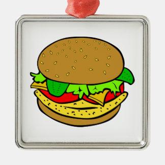 Cheeseburger cartoon christmas ornaments