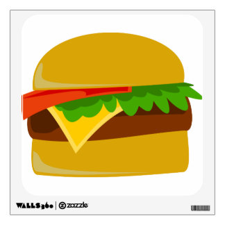 Cheeseburger cartoon wall decal