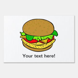 Cheeseburger cartoon signs
