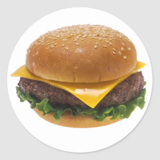 Cheeseburger Classic Round Sticker | Zazzle