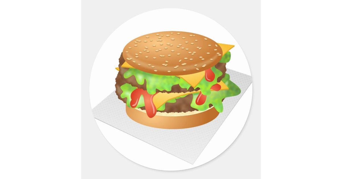 Cheeseburger Classic Round Sticker | Zazzle