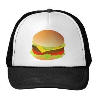 Cheeseburger con lechuga, el tomate, y las gorras de camionero
