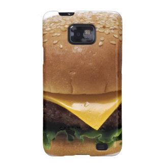 Cheeseburger de la comida del almuerzo del galaxy s2 funda