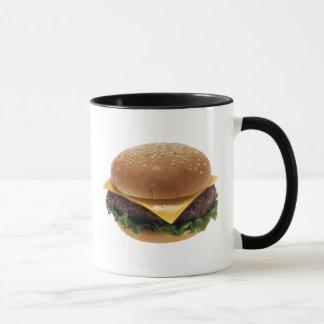 Cheeseburger de la comida del almuerzo del taza