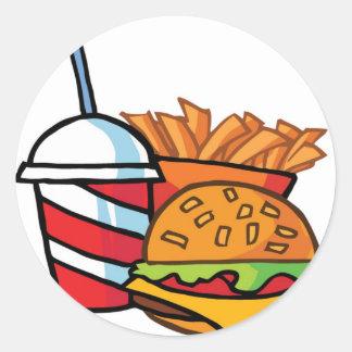 Cheeseburger de los alimentos de preparación pegatina redonda