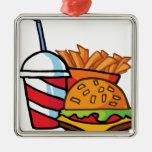 Cheeseburger de los alimentos de preparación rápid ornamentos para reyes magos