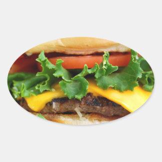 Cheeseburger del tocino pegatina ovalada