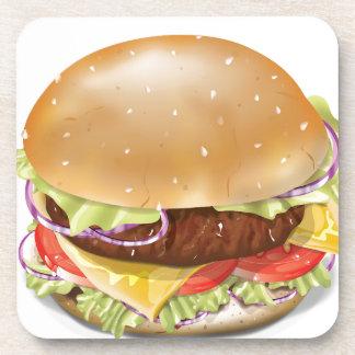 Cheeseburger delicioso posavasos de bebida