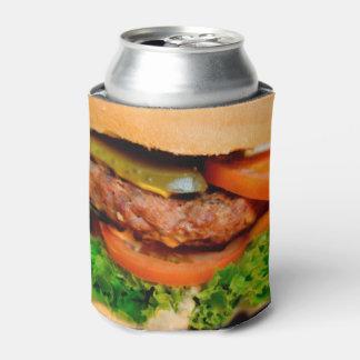 Cheeseburger divertido de la hamburguesa por todo enfriador de latas