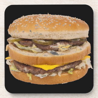 Cheeseburger double fast food drink coaster