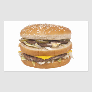 Cheeseburger double fast food rectangular sticker