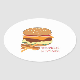 Cheeseburger en paraíso colcomanias de oval