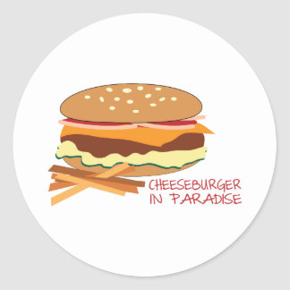 Cheeseburger en paraíso etiqueta redonda