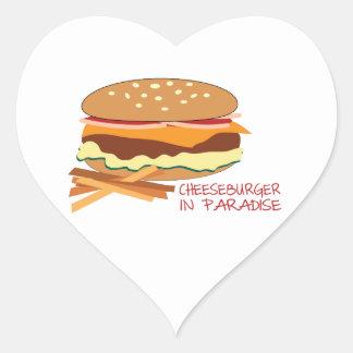 Cheeseburger en paraíso calcomanía corazón personalizadas