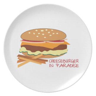 Cheeseburger en paraíso platos de comidas