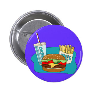 Cheeseburger, Fries and Drink Button
