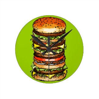 Cheeseburger grande reloj redondo mediano
