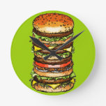 Cheeseburger grande relojes de pared