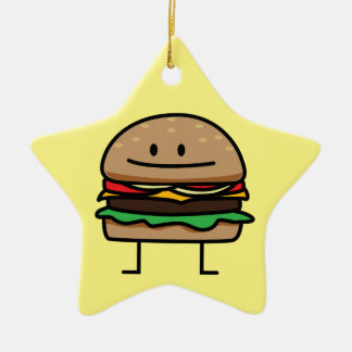 Cheeseburger Hamburger ground meat Beef cheese bun Ceramic Ornament