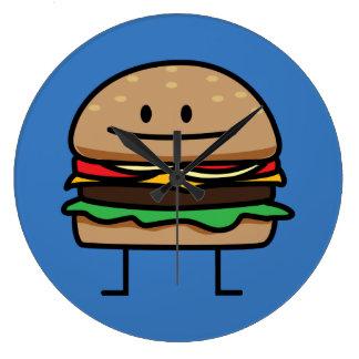 Cheeseburger Hamburger ground meat Beef cheese bun Large Clock