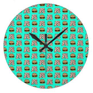 Cheeseburger & Heart Boxers Large Wall Clock